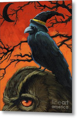 Owl And Crow Halloween Metal Print