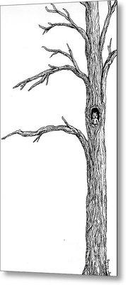 Owl Ink Tree Metal Print