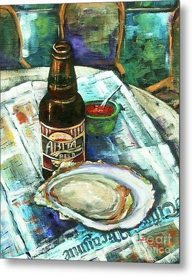 Oyster And Amber Metal Print