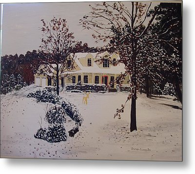 Ozark House Christmas Snow Metal Print by Sharon  De Vore