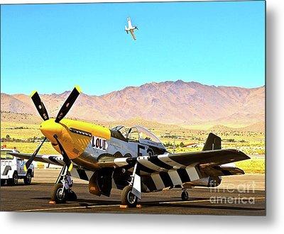 P51 Mustangs Lou Iv And Strega 2010 Reno Air Races Metal Print by Gus McCrea