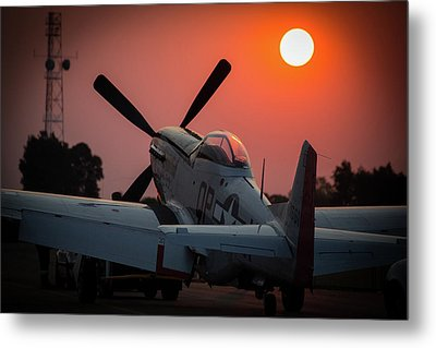 Metal Print featuring the photograph P51 Sunset by Paul Job