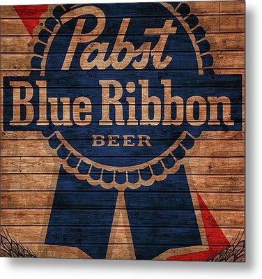 Pabst Blue Ribbon Barn Door Metal Print by Dan Sproul