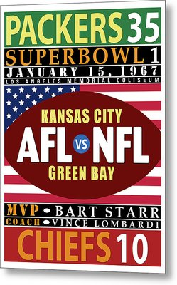 Packers 35 Chiefs 10 Super Bowl 1 Metal Print