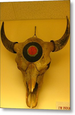Painted Bison Skull Metal Print by Austen Brauker