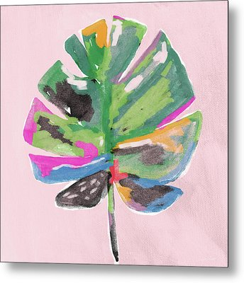 Painted Palm Leaf 2- Art By Linda Woods Metal Print by Linda Woods