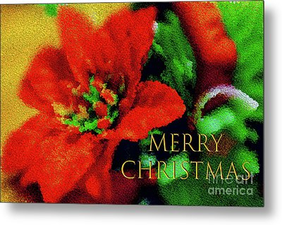 Painted Poinsettia Merry Christmas Metal Print by Sandy Moulder