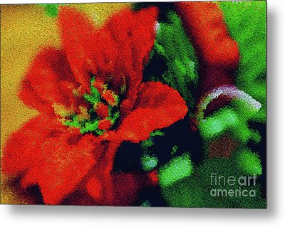 Painted Poinsettia Metal Print by Sandy Moulder