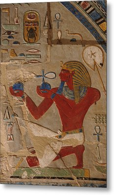 Painted Relief Of Thutmosis IIi Metal Print by Kenneth Garrett