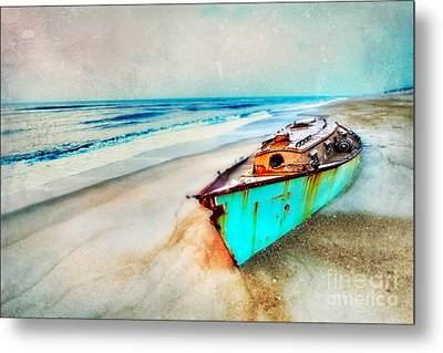 Painted Shipwreck On The Outer Banks II Metal Print by Dan Carmichael