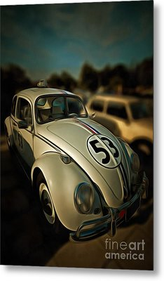 Painting Of 1963 Volkswagen Herbie With Toy Car On Roof Metal Print