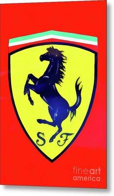 Painting Of A Ferrari Badge Metal Print
