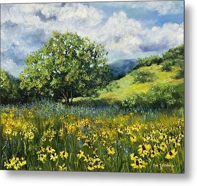 Painting Of Black-eyed Susans In Oklahoma Landscape Metal Print