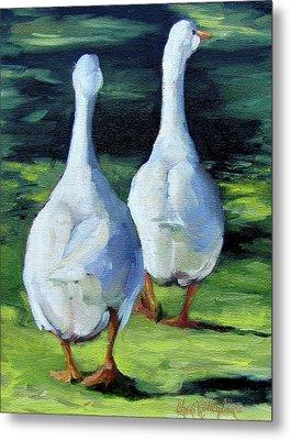 Painting Of Ducks Waddling Home Metal Print by Cheri Wollenberg