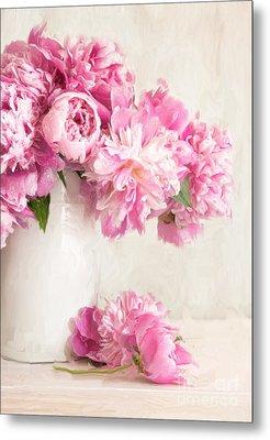 Painting Of Pink Peonies In Vase/digital Painting   Metal Print by Sandra Cunningham