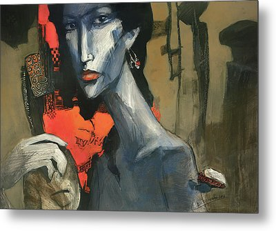 Painting Of The Lady _ 1 Metal Print by Behzad Sohrabi