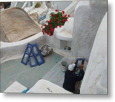 Painting Shutters In Santorini Greece Metal Print by Nikki Borden