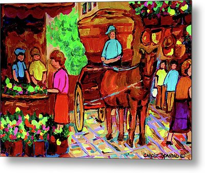 Paintings Of Montreal Streets Old Montreal With Flower Cart And Caleche By Artist Carole Spandau Metal Print by Carole Spandau