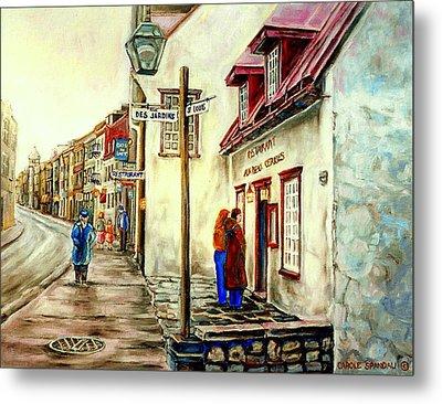Paintings Of Quebec Landmarks Aux Anciens Canadiens Restaurant Rainy Morning October City Scene  Metal Print by Carole Spandau
