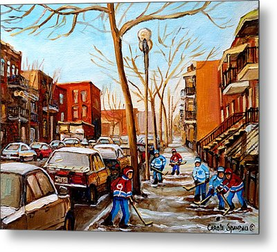 Paintings Of Verdun Streets In Winter Hockey Game Near Row Houses Montreal City Scenes Metal Print by Carole Spandau