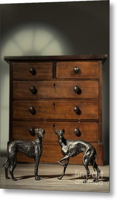 Pair Of Greyhound Dog Figures Metal Print by Amanda Elwell