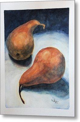 Metal Print featuring the painting Pair Of Pears by Rachel Hames