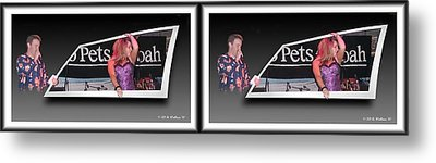 Pajama Night - Gently Cross Your Eyes And Focus On The Middle Image Metal Print by Brian Wallace
