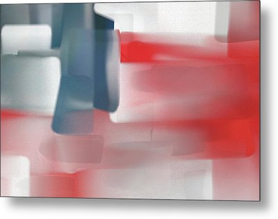 Palette Knife Abstract American Flag Metal Print