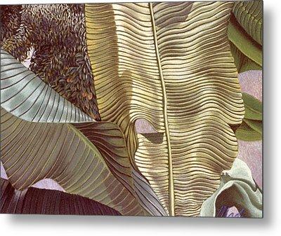 Palm Leaves And Orange Tree Metal Print