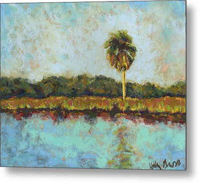 Palm On Spruce Metal Print by Hillary Gross