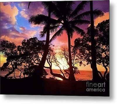 Palm Tree Silhouette Metal Print by Kristine Merc