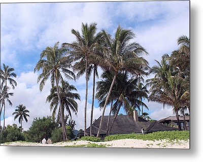 Palm Trees At The Beach Metal Print