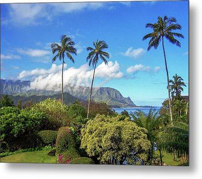Palms At Hanalei Metal Print by James Eddy
