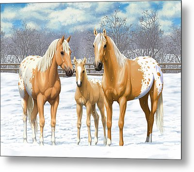 Palomino Appaloosa Horses In Winter Metal Print
