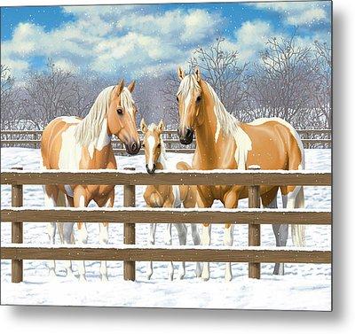Palomino Paint Horses In Snow Metal Print