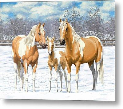 Palomino Paint Horses In Winter Pasture Metal Print