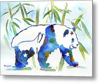 Panda Bear With Stars In Blue Metal Print