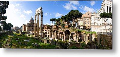 Panorama Of The Roman Forum Metal Print