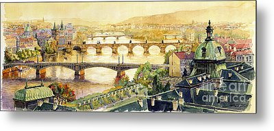 Panorama Prague Briges Metal Print by Yuriy  Shevchuk