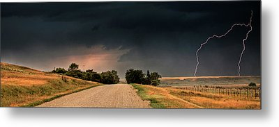Panoramic Lightning Storm In The Prairie Metal Print by Mark Duffy