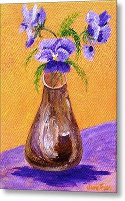 Pansies In Brown Vase Metal Print