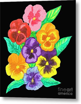Pansies On Black Metal Print