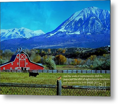 Paonia Mountain And Barn Metal Print by Annie Gibbons