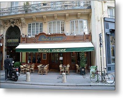 Paris Cafe Bistro - Galerie Vivienne - Paris Cafes Bistro Restaurant-paris Cafe Galerie Vivienne Metal Print