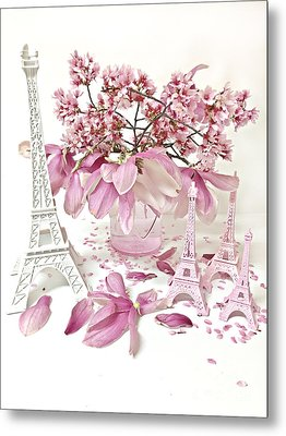 Paris Eiffel Tower Spring Magnolia Flower Blossoms - Paris Pink White Spring Blossoms  Metal Print by Kathy Fornal