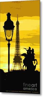 Paris Tour Eiffel Yellow Metal Print by Yuriy  Shevchuk