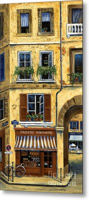 Parisian Bistro And Butcher Shop Metal Print
