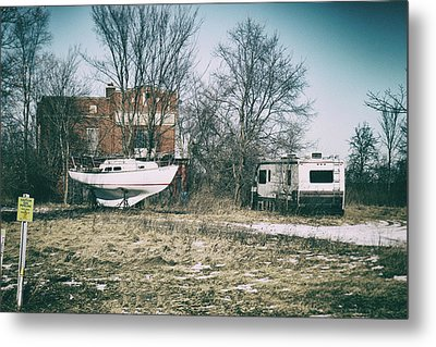 Parked Traveler Metal Print