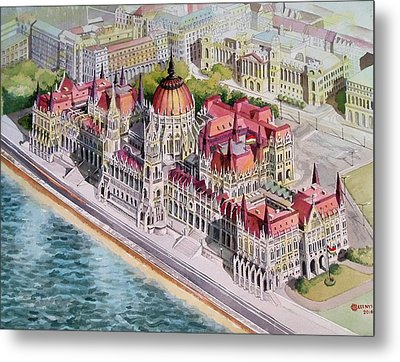 Parliment Of Hungary Metal Print by Charles Hetenyi