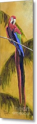 Parrot Is A Character With Gold Leaf By Vic Mastis Metal Print by Vic  Mastis